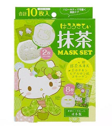 日本 hello Kitty馬油櫻花抹茶玻尿酸保濕黃金精華面膜 10枚入H-詳情-圖片1
