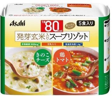 ASAHI朝日发芽玄米瘦身代餐蘑菇|奶酪和鸡肉西红柿粥5包入-详情-图片1